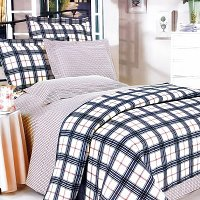 Red Black Plaid, 100% Cotton 4PC Duvet Cover Set (King Size)